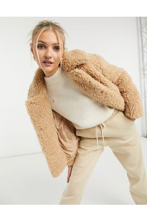 Topshop Cropped borg jacket in camel-Tan