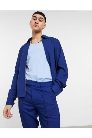 ASOS DESIGN Smart harrington jacket in pique cobalt blue-Blues