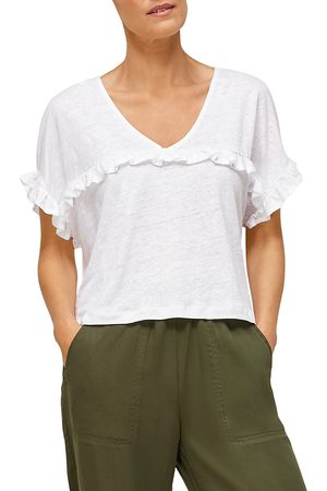 Whistles Linen Ruffle Top