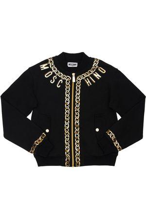 Moschino Printed Cotton Zip-up Sweatshirt