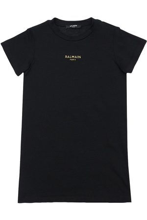Balmain Embroidered Logo Cotton Jersey Dress