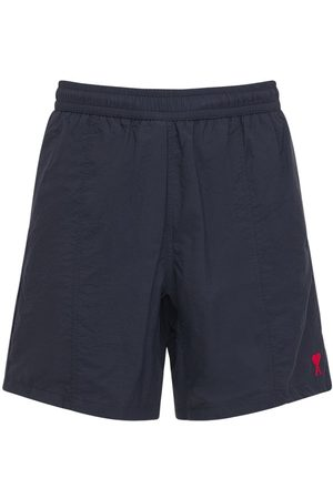 Ami Men Swim Shorts - Logo Embro Nylon Canvas Long Swim Shorts