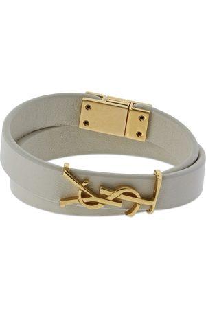 Saint Laurent Double Wrap Ysl Leather Bracelet