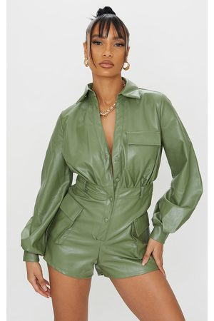 PRETTYLITTLETHING Khaki PU Balloon Sleeve Pocket Detail Romper