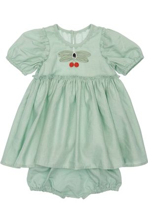 Stella McCartney Girls Dresses - Linen & Organic Cotton Dress W/ Diaper