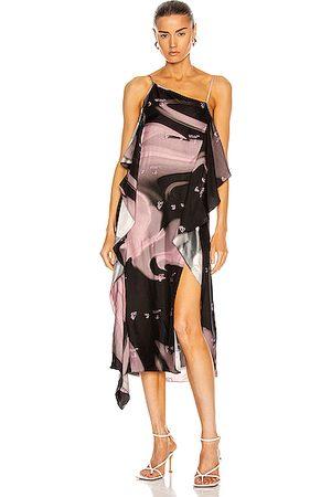 OFF-WHITE Liquid Melt Waves Slip Dress in Pink