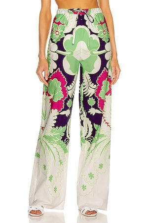 Valentino Floral Wide Leg Pant in White