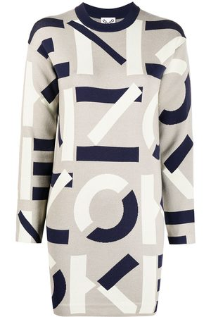 Kenzo Women Casual Dresses - Intarsia-logo long-sleeve dress - Grey