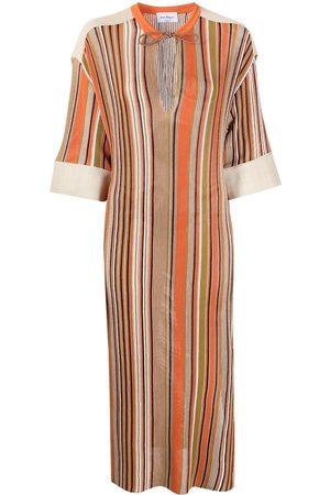 Salvatore Ferragamo Fine-knit striped midi dress - Neutrals