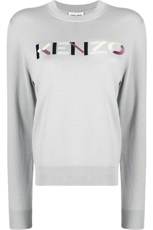 Kenzo Logo-embroidered knitted jumper - Grey