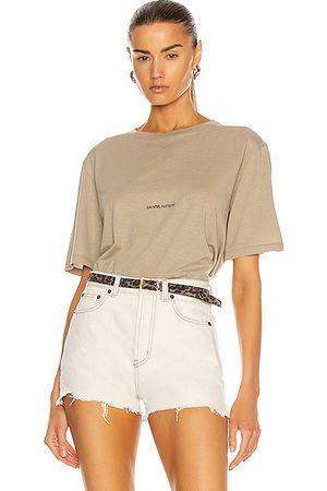Saint Laurent Round Collar Logo T Shirt in Tan