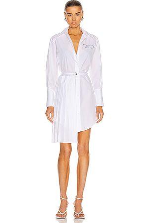 OFF-WHITE Popeline Plisse Shirt Dress in