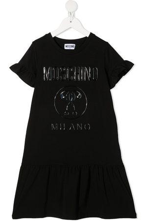 Moschino Kids Logo print peplum hem dress