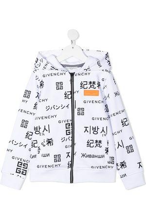 Givenchy Kids Boys Hoodies - Logo-print zip-front hoodie