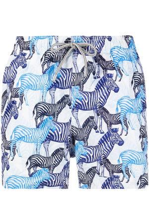Mc2 Saint Barth Men Swim Shorts - Zebra-print elasticated-waist swim shorts