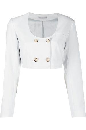 12 STOREEZ Women Blazers - Cropped double-breasted blazer - Grey