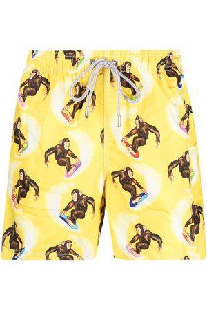 Mc2 Saint Barth Surfing-monkey print swim shorts