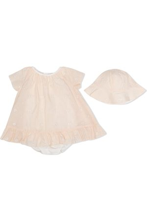 Chloé Baby Rompers - Floral embroidered romper & hat set - Neutrals