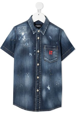 Dsquared2 Kids Distressed logo-print denim shirt