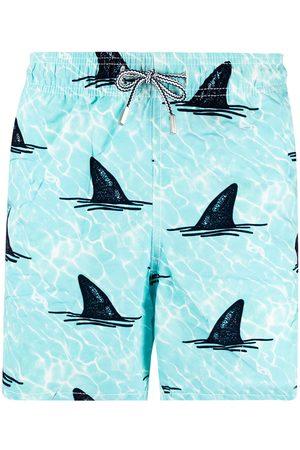Mc2 Saint Barth Men Swim Shorts - Shark-print elasticated-waist swim shorts