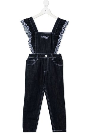 Philosophy Di Lorenzo Serafini Kids Lace-trimmed denim dungarees