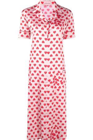 Natasha Zinko Heart-print satin shirt dress - Neutrals