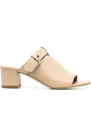 Del Carlo Buckled strap leather mules - Neutrals