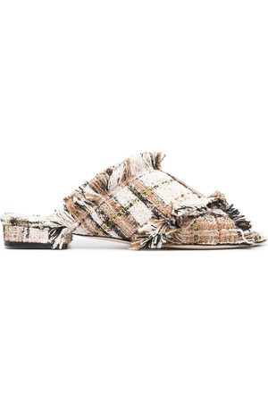 MSGM Check print tweed sandals