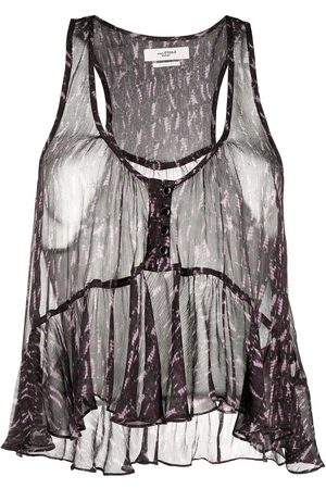 Isabel Marant Étoile Printed sheer cropped blouse