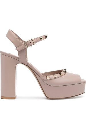 Valentino Garavani Women Sandals - 110mm Rockstud-embellished sandals - Neutrals