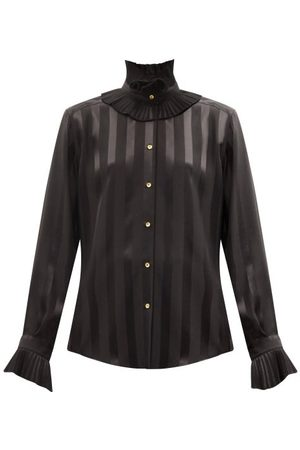 Dolce & Gabbana Women Blouses - Flounced Stripe-jacquard Silk-satin Blouse - Womens