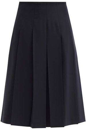 Jil Sander Pleated Midi Skirt - Womens - Navy