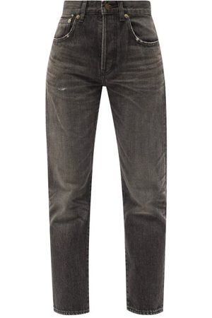 Saint Laurent Distressed High-rise Straight-leg Jeans - Womens