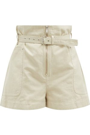 Isabel Marant Parana Paperbag-waist Cotton-blend Shorts - Womens - Ivory