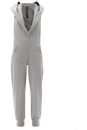 Norma Kamali Open-back Hooded Cotton-blend Jersey Jumpsuit - Womens - Light Grey