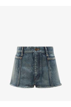 Saint Laurent Women Shorts - Distressed Denim Shorts - Womens - Denim