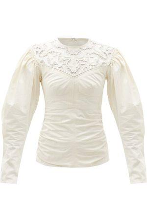 Isabel Marant Tayma Lace-panel Cotton-poplin Top - Womens - Ivory