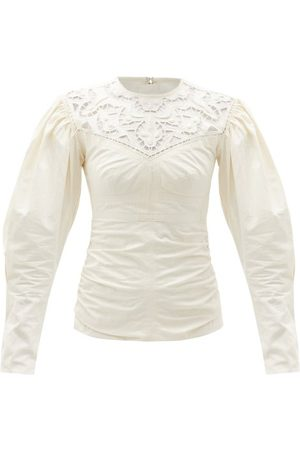 Isabel Marant Women Tops - Tayma Lace-panel Cotton-poplin Top - Womens - Ivory