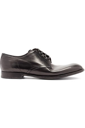 Dolce & Gabbana Men Formal Shoes - Topstitched Leather Derby Shoes - Mens