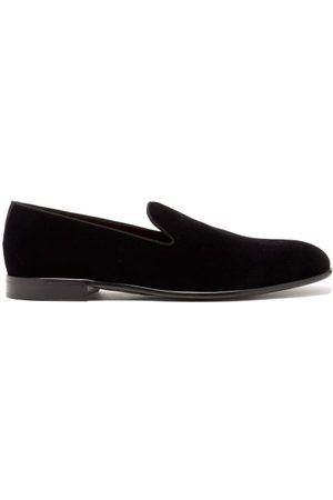 Dolce & Gabbana Men Loafers - Piped Velvet Slipper Loafers - Mens