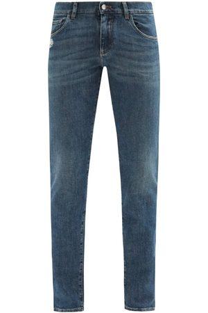Dolce & Gabbana Washed Mid-rise Slim-leg Jeans - Mens - Dark