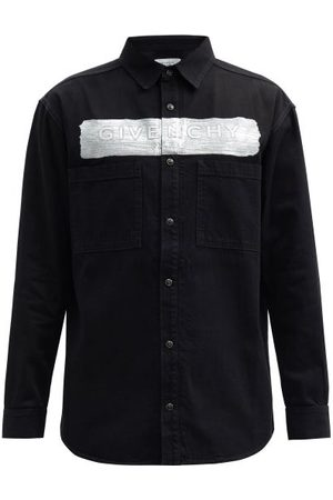 Givenchy Men Denim - Coated-logo Denim Shirt - Mens