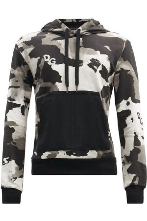 Dolce & Gabbana Camouflage-print Cotton-blend Hooded Sweatshirt - Mens - Grey Multi