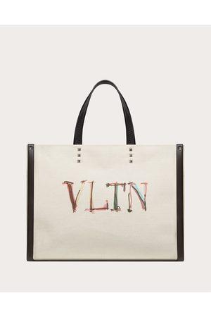 VALENTINO GARAVANI Men Bags - Medium Vltn Graph Canvas Tote Bag Man Natural/ Cotton 63%, Linen 37% OneSize