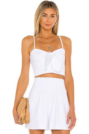 Susana Monaco Bow Front Crop Top in White.