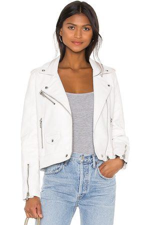 BLANKNYC Vegan Leather Moto Jacket in White.