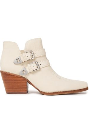 Sam Edelman Woman Windsor Buckle-embellished Leather Ankle Boots Ivory Size 10
