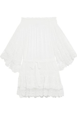 Melissa Odabash Women Beachwear - Woman Alice Off-the-shoulder Embroidered Tulle Lace And Fil Coupé Chiffon Coverup Size L