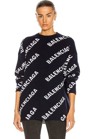 Balenciaga Long Sleeve Logo Crewneck Sweater in Navy