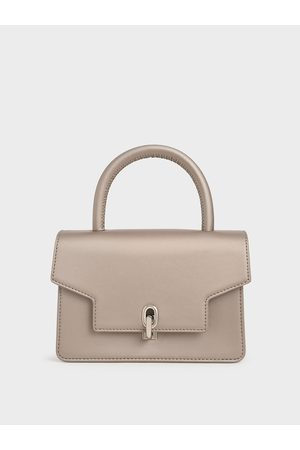 CHARLES & KEITH Women Bags - Leather Metallic Turn-Lock Bag